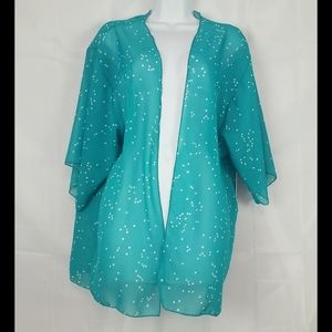 KAII sheer green/turquoise open front Cardigan